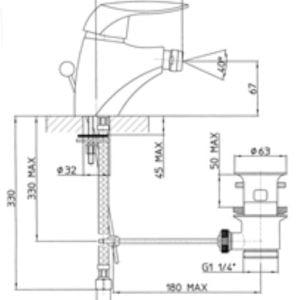 Miscelatore bidet Talia Teorema disegno tecnico - edil siani