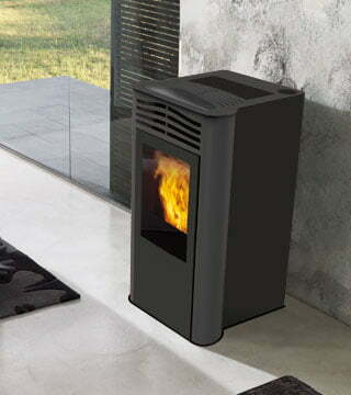 stufa a pellet italiana camini ten plus 10 kw grigia