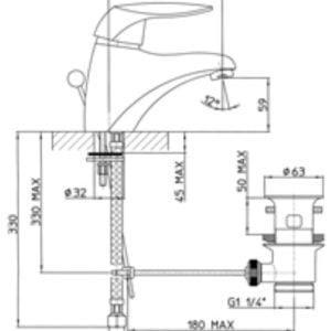 Miscelatore lavabo Talia Teorema disegno tecnico - edil siani