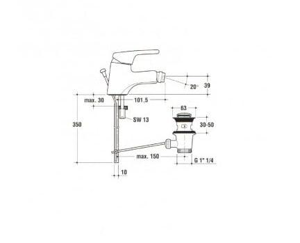 miscelatore bidet ceraplan ideal standard disegno tecnico - edil siani