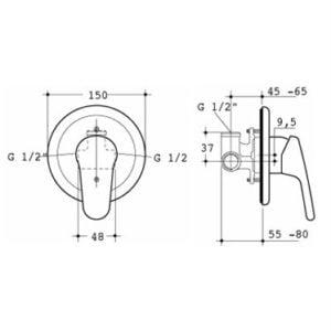 Miscelatore doccia a incasso Ceraplan Ideal Standard disegno tecnico - edil siani