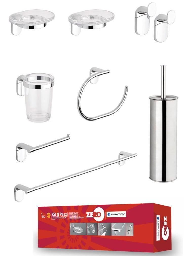 Kit zero 8 pezzi metaform accessori bagno edil siani for Kit accessori bagno