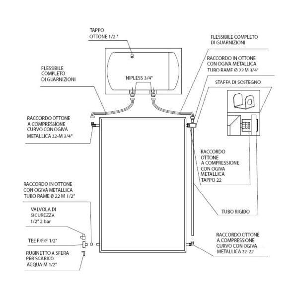 pannello solare panarea cordivari 150 lt - edil siani disegno tecnico 2